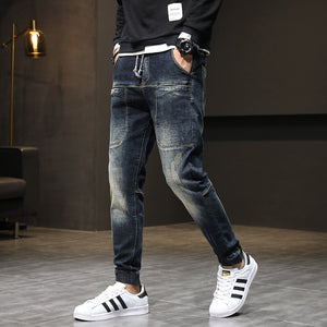 Autumn Relaxed Tapered Jeans Men Streetwear Hiphop Elastic Waist  Joggers Jeans Pants Man Casaul Denm Pants Front Pockets 42