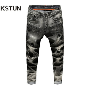 Black Jeans Men Ripped Faded Slim Fit Elastic Pleated Torn Men's Motorcycle Pants Biker Jeans Distressed Hip Hop Male Trousers