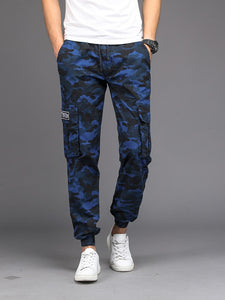 Camouflage Casual Pants Men Joggers Men's Trousers Drawstring Sweatpants Male Large Size Blue Military Army Cargo Pants Men Boys