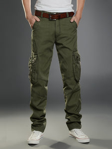Cargo Pants Men Straight 100% Cotton Baggy Zippers Designer Multi-Pockets Overalls Men's Casual Pants Long Trousers Outdoors
