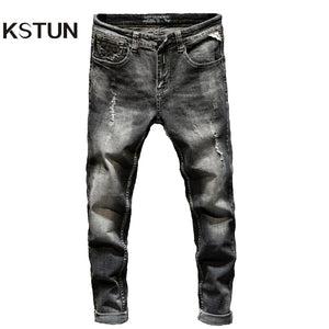 Distressed Jeans Men Ripped Slim Fit Gray Stretch Denim Pants Fashionable Streetwear Biker Jean for Men Punk Style High Quality