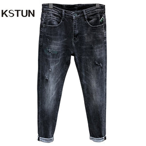 Distressed Jeans Men Skinny Jeans Pants Gray Elastic Mens Ripped Jeans Denim Trousers Man Casual Pants Hiphop Streetwear Cowboys