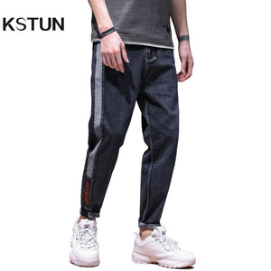 Famous Brand Jeans Men 2020 Spring Relaxed Jeans Man Loose Fit Patchwork Casual Male Trousers Side Striped Pockets Desinger