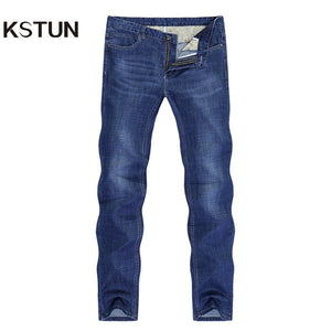 Famous Brand Jeans Men Regular Fit Stretch Direct Straight Dark Blue Business Causal Pants  Men's Trousers Washed Large Size 38 - KSTUN Jeans Shop