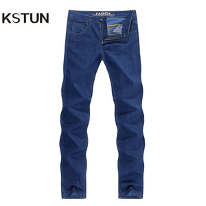Famous Brand Jeans Men Regular Fit Thin Stretch Direct Straight Blue Business Causal Pants Men's Trousers Washed Large Size 38
