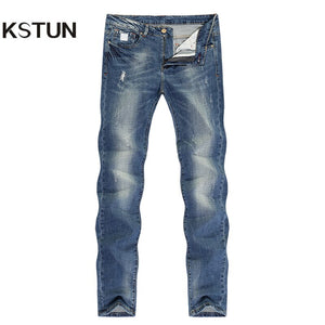 Fashion Jeans for Men Slim Straight Blue Stretch Distressed Men's Clothes Trousers Yong Man Casual Pants Cowboys Jean Hombre 38 - KSTUN Jeans Shop