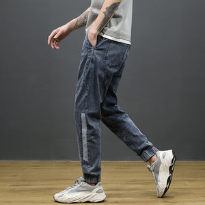 Fashion Streetwear Men Jeans Light Gray Loose Fit  Harem Jeans Men Hip Hop Joggers Pants Elastic Waist Drawstring Jeans Hombre