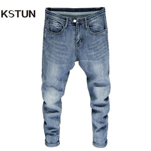 Good Quality Jeans for Men Skinny Stretch Light Blue Fashion Streetwear Denim Pants Men's Clothing Long Trousers Jean Hombre 38