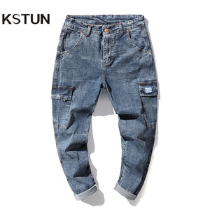 Harem Jeans Men Cargo Pants Spring and Summer Stretch Light Blue Loose Fit Multi-Pockets Casaul Denim Pants Soft Plus Size 42 40