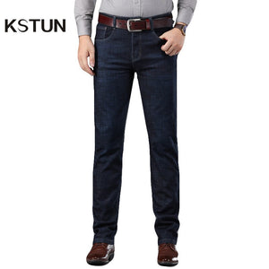 Jeans For Men Autumn and Winter Dark Blue Stretch Business Casual Classic Straight Businessman Full Length Trousers High Quality