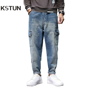 Jeans Men Light Blue Baggy Harem Pants Loose Fit Streetwear Side Pockets Fashion Jeans for Men Oversize Pants Kpop Clothes Punk