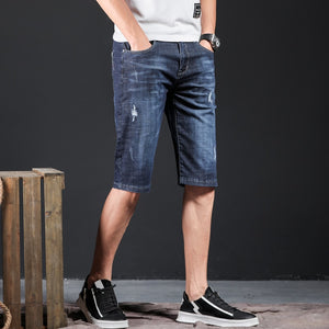 Jeans Men Stretch Denim Men Shorts Black Blue Hip Hop Frayed Slim Fit Ripped Distressed Casual Joggers Jeans Pantalon Jean Homme