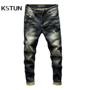 Jeans Mens Denim Pants Slim Fit Retro Stretch Skinny Spring and Autumn Trousers for Man Streetwear Moto Biker Jeans High Quality