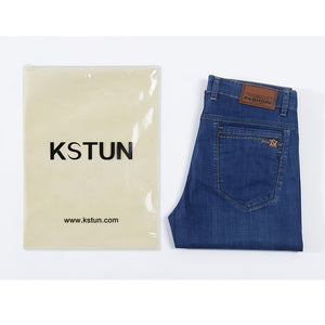 KSTUN 2020 New Arrivals Mens Jeans Blue Business Casual Denim Pants Full Length Trousers Businessmen Soft Material Jeans Hombre