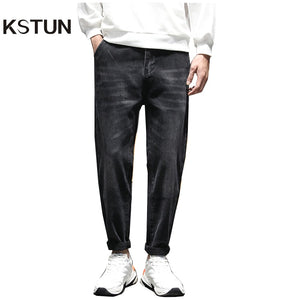 KSTUN Black Jeans Men Haren Pants 2020 Spring Loose Fit Stretchy Quality Brand Jeans Man Long Trousers Male Casual Pants Jeans