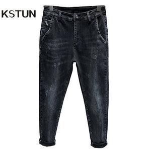 KSTUN Denim Jeans Pants Men Stretch Dark Gray Harem Pants Relaxed Tapered Jeans Man 2020 Spring and Autumn Men's Clothing Homme