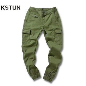 KSTUN High Quality Khaki Casual Pants Men Military Tactical Joggers Cargo Pants Multi-Pocket Fashions Black Green Male Trousers