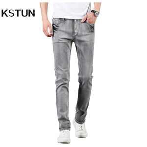 KSTUN Jeans Men Gray Stretch Slim Fit Vintage Spring and Autumn High Quality Yong Boys Denim Pants Men's Clothing 2019 Trendy - KSTUN Jeans Shop