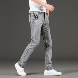 KSTUN Jeans Men Gray Stretch Slim Fit Vintage Spring and Autumn High Quality Yong Boys Denim Pants Men's Clothing 2019 Trendy