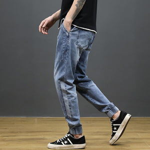 KSTUN Jeans Men Light Blue Stretch Jogger Pants Loose fit Spliced Harem Pants Casual Streetwear Hip Hop Jeans Men Ankle Banded