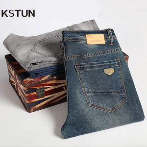 KSTUN Jeans Men Retro Blue Straight Regular Fit Business Casual Denim Pants Men's Jeans Long Trousers Vintage Jeans Plus Size 40