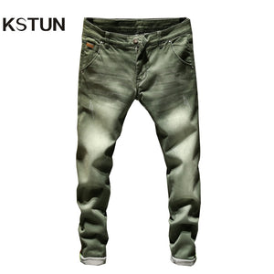 KSTUN Jeans Men Skinny Stretch Mens Colourd Jeans Fashion Slim Fit  Jeans Casual Pants Trousers Jean Male Green Black Blue White