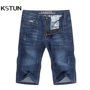 KSTUN Jeans Men Slim Fit Denim Shorts Solid Blue Stretchy Man Jeans Brand 2020 Casual Short Jean Pants Cowboys Short Jeans Homme