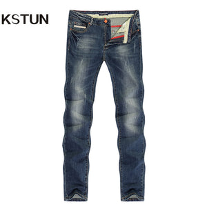 KSTUN Jeans Men Slim Straight Spring Summer Long Trousers Elastic Europe and American Style Vintage Classic Denim Pants Homme - KSTUN Jeans Shop