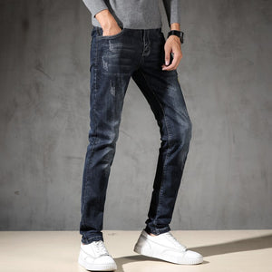 KSTUN Jeans Men Spring and Autumn Slim Straight Dark Blue Stretch Embroidered Letters High Street Famous Brand Men's Trousers
