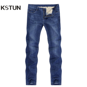 KSTUN Jeans for Men Summer Ultrathin Business Casual Straight Dark Blue Regular Fit Soft  Men's Clothes Businessman Denim Pants