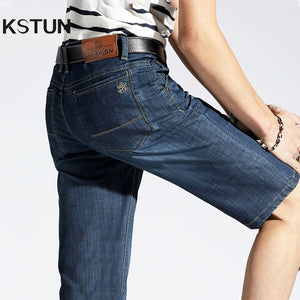 KSTUN Men Denim Shorts 2019 Summer New Style Thin Cotton Slim Fit Black Blue Short Jeans Male Brand Clothing Businessman Shorts