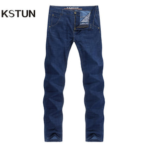 KSTUN Men Jeans Brand Solid Blue Straight Fit Business Casual Ultrathin 2020 Summer Full Length Trousers Jean Homme Dropshipping