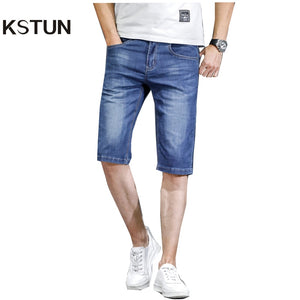 KSTUN Men Jeans Pants Denim Short Jeans Stretch Slim Fit Light Blue Fashion Pockets Designer Man Jeans Brand 2018 Good Quality