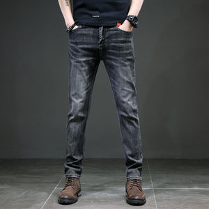 KSTUN Men's Jeans Regular Cut Business Casual Straight Fit Dark Gray Stretch Jeans for Men Good Quality Male Trousers Homme 40