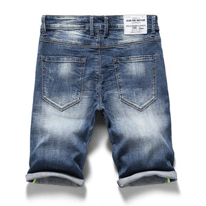 KSTUN Men's Jeans Shorts Thin Denim Ruched Short Pants New Fashion Summer Male Casual Short Jeans Shorts Stretch Pants Patched