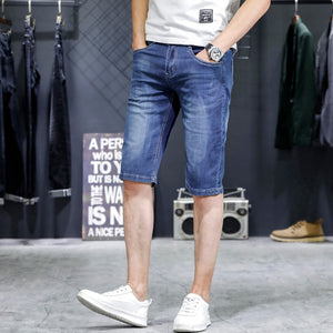 KSTUN Mens Jeans Brand Shorts Jeans Men Denim Pants Sky Blue Elastic Slim Straight Casual Knee Length Shorts Jeans Lightweight