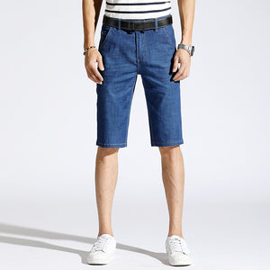 KSTUN Mens Jeans Shorts 2019 Summer Stretch Denim Jeans Shorts Light Blue Straight Slim Smart Business Shorts Thin Breathable 35