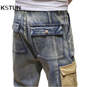 KSTUN Mens Jeans with Side Pockets Cargo Jeans Stretch Denim Pants Multi-pocket Jeans Male Relaxed Joggers Oversize Size 40 42