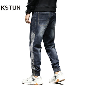 KSTUN Relaxed Tapered Jeans Men Side Patched Letters Design Dark Blue Loose Fit  Elastic Waist Drawstring Casual Pants Plus Size