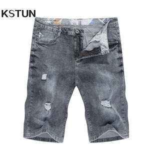 KSTUN Ripped Jeans for Men Denim Shorts Grey Stretch Slim Fit Mens Jeans Distroyed Rip Biker Jeans Boys Pants Hip Hop Shorts Man
