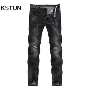 KSTUN Winter Jeans Men Black Jeans Stretch Slim Straight Ripped Hip Hop Distressed Men Jeans High Street Frayed Jeans Cowboys