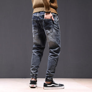 KSTUN joggers jean men motorcycle jeans streetwear drawstring elastic waist ruched Pants leisure riding jeans male plus size 42