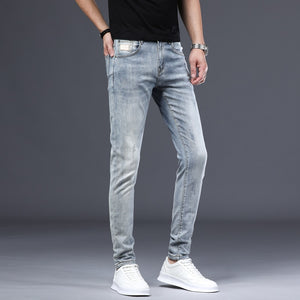 Light Blue Jeans Men Skinny Fit Elasticity Spring and Autumn Patched Casual Pencil Pants Denim Clothes Male Long Trousers
