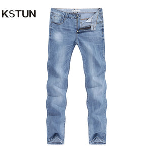 Man Jeans Brand 2021 Spring And Autumn Slim Straight Regular Cut Light Blue Stretch Fashoin Men's Clothing Male Long Trousers