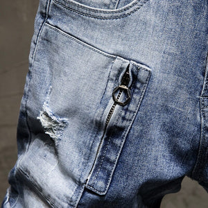 Men Jeans Hot Summer Shorts Straight Elasticity Cotton Ripped Broken Holes Distressed Hip Hop Light Blue Fashion Fake Zippers