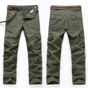 Men's Cargo Pants Baggy Casual Pants Male Army Military Tactical Full Length Trousers Loose Straight Cut Pants Plus Size No Belt