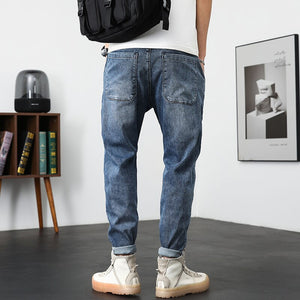 Men's Jeans Slim Fit Blue 2021 Summer Stretch Jeans Pants For Men Fashion Denim Casual Pants Male Trousers Big Size 42 Belt Gift