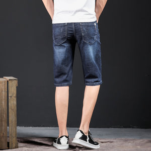 Mens Jeans Brand Ripped Biker Jeans Men Shorts Denim Pants Elastic Dark Blue Streewear Frayed Slim Fit Pantalon Homme Jean