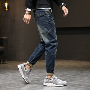 Mens Jeans Harem Pants Fashion Pockets Desinger Loose fit Baggy Moto Jeans Men Stretch Retro Streetwear Relaxed Tapered Jeans 42
