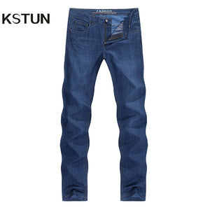 Mens Jeans Summer Ultrathin Blue Business Casual Cotton Straight Classic Comfortable Full Length Trousers Gentleman Jean Homme